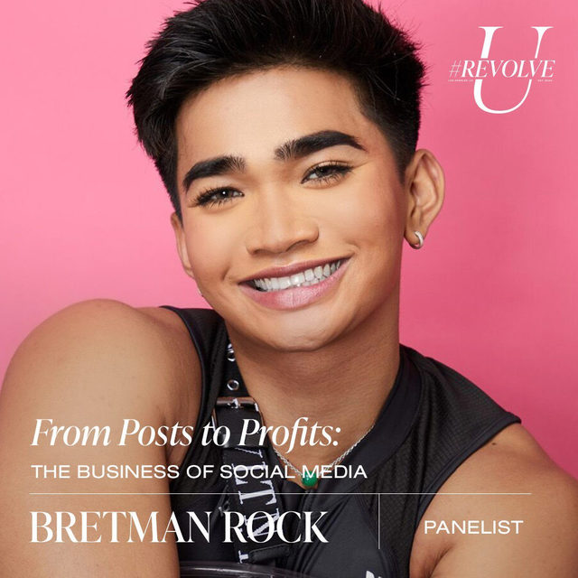 Named by @time Magazine as this generation's Most Influential Teen, @bretmanrock has evolved from beauty vlogger to full-on digital celeb with his larger-than-life personality. While the 22-year old YouTube star is known for his outlandish and online character, Rock is also passionate about protecting the environment and next generation. Rock has worked alongside organizations including the @oceanconservancy and @makeawishamerica foundation.  tune in to the From Posts to Profits: The Business of Social Media panel on Tues 9.22 @ 3PM PST ❤️ LIVE on our YouTube - youtube.com/revolve  use our link in bio for more info, dates & times! ✨#REVOLVEU