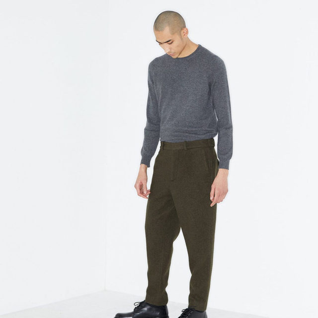 Earthy tones. #Raey cashmere sweater and tapered-leg trousers. Available exclusively at @MATCHES_MAN.
