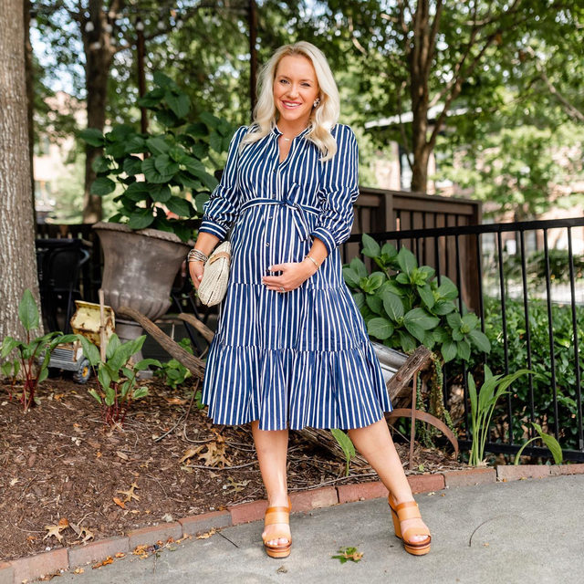 """""""One of my favorite styles is the classic shirtdress. It's perfect with or without a bump, and the tie-waisted belt makes it so feminine either way,"""" says @lauren.k.wilson, who is expecting a baby girl later this year. """"Perfect for now and after the baby arrives."""""""