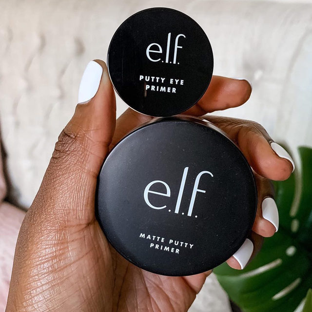 PUTTY 👏 PRIMERS 👏   Why we love them:  ✨Putty Eye Primer: Extend your eyeshadow wear or wear on its own for a matte, smudge-proof eye look ✨Matte Putty Primer: Smooth over skin for a poreless, matte effect that stays all day   Tap to shop our award-winning Putty Primers 💖 📷: @mena_adubea #eyeslipsface #elfingamazing #elfcosmetics #crueltyfree #vegan