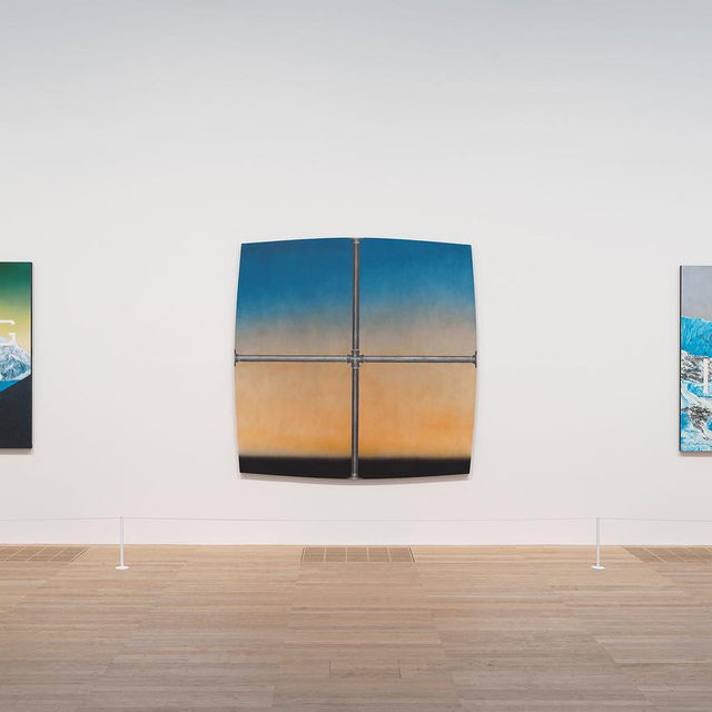 """#GagosianSpotlight: """"Ed Ruscha: Artist Rooms"""" is on view at Tate Modern, London, through July 2021. This display reflects the range of Ed Ruscha's practice, including paintings, prints, and photographic books, through artworks spanning sixty years of the artist's career. Full of irony and humor, his works can often be interpreted as commentaries on American society.   This morning, Gagosian unveiled a new painting by Ed Ruscha exclusively on gagosian.com Follow the link in our bio to view the work. _________ #EdRuscha #Gagosian @edruschaofficial @tate  Installation views, """"Ed Ruscha: Artist Rooms,"""" Tate Modern, London, July 26, 2019–July 2021. Artwork © Ed Ruscha. Photo © Tate (Oliver Cowling)"""