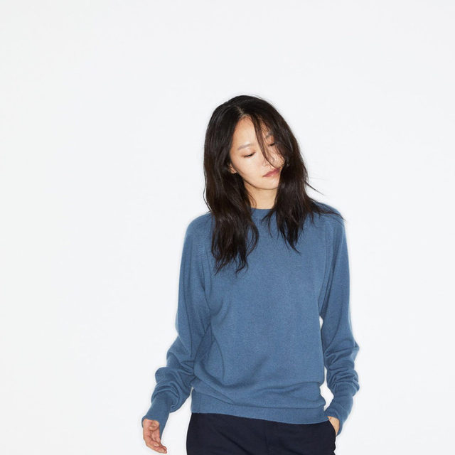 Blues. #Raey raglan-sleeve cashmere sweater. Available exclusively at @MATCHESFASHION.