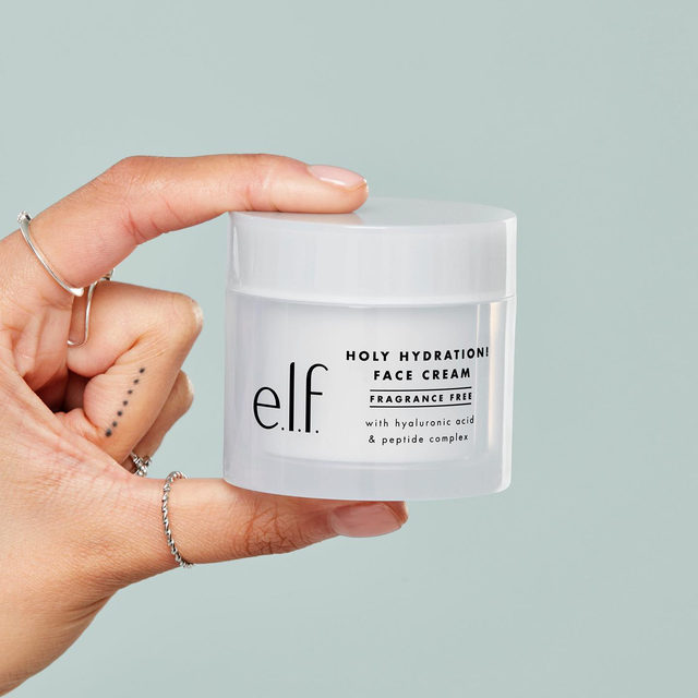 🗣This is a PSA to hydrate your skin🗣  Holy Hydration Face Cream in Fragrance Free is packed with ingredients like squalane, hyaluronic acid, niacinamide and peptide complex to nourish and protect skin and is great for dry, normal and combination skin types 💦  Tap to shop your new holy grail face cream for $12 ✨#eyeslipsface #elfingamazing #elfcosmetics #crueltyfree #vegan