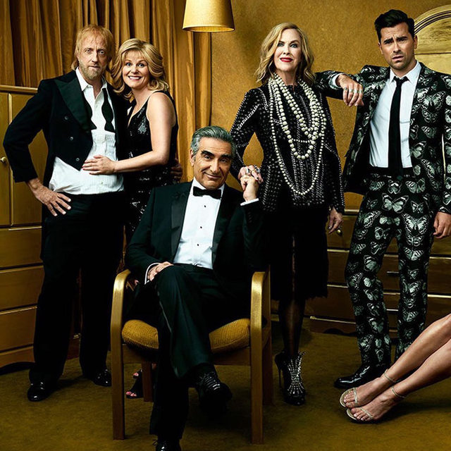 It's a Schitt's Creek sweep at the #Emmys! The Canadian series broke a slew of records by becoming the first comedy to win all four main acting awards, and also became the most awarded comedy in a single year (it also took the night's biggest prize of Outstanding Comedy Series). Read more about the historic winning streak at the link in bio. 📸: Andre Eccles for V.F. Holiday 2016/2017.
