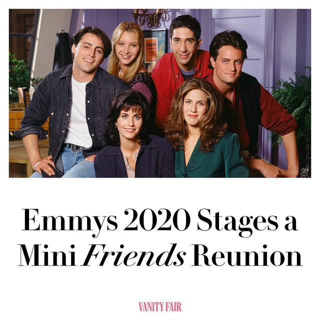 When the rain starts to pour, always count on Friends. As part of the #Emmys's often strange, oddly transfixing virtual ceremony, Jennifer Aniston, Courteney Cox, and Lisa Kudrow appeared together for a small Friends reunion—ostensibly at Aniston's house. Tap the link in bio for more.