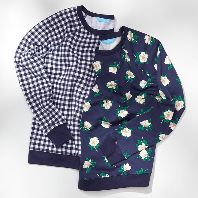 Meet the Magnolia Sweatshirt, the floral-printed sister to our best-selling Gingham Sweatshirt 💙💙 Available in sizes XS to 3X #draperjamesathome #djlovesgingham