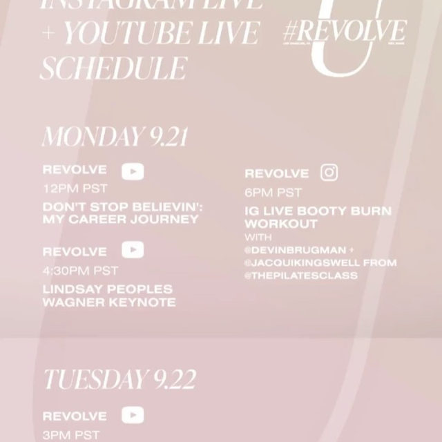 it's that time! #REVOLVEU is officially here! 😍💫✨ check out this week's #REVOLVEU rundown for Instagram LIVE + YouTube LIVE! so save, screenshot & share and we'll see you on @revolve LIVE!