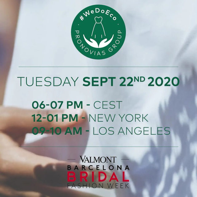 Be prepared for a VERY special launch tonight at 6pm CEST. Join us at the New Digital Edition of the Valmont Barcelona Bridal Fashion week and discover our very first Collection of sustainable dresses: #WeDoECo.   Register on the link in bio or through this link: https://bit.ly/3cezVrC Download the VBBFW Digital Experience App Enjoy the fashion show and say I DO ECO in the New #WeDoEco Collection.  #PronoviasFashionShow #Pronovias #vbbfw20 #vbbfw #ValmontBarcelonaBridalFashionWeek