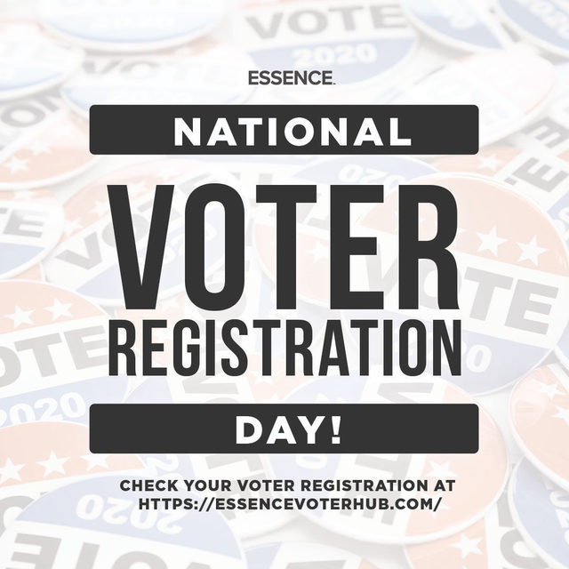 Today's #NationalVoterRegistrationDay! Tap the bio link to visit ESSENCE's voter hub to check your registration 🗳