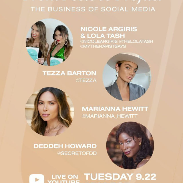 the #REVOLVEU From Posts to Profits: The Business of Social Media panel is HERE! subscribe to our YouTube if you haven't already + join us TODAY @ 3PM PST on @revolve's YouTube LIVE! 📚🎓 this panel features @mytherapistsays, @tezza, @marianna_hewitt, @secretofdd, @koreen, @bretmanrock + is moderated by the amazing @aimeesong! see you there!