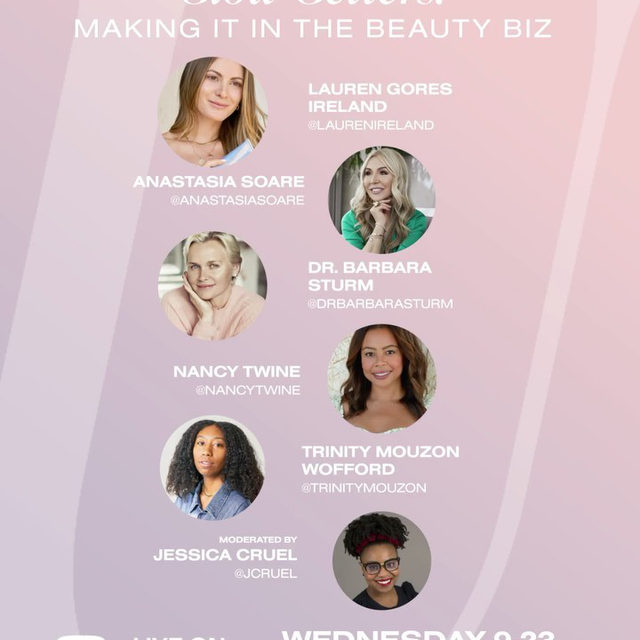 get ready for tomorrow because the #REVOLVEU Glow Getters: Making It in the Beauty Biz panel is almost here! 😍💫💕 featuring @laurenireland, @anastasiasoare, @drbarbarasturm, @nancytwine, @trinitymouzon + moderated by @jcruel 📚🎓 don't forget to subscribe to our @revolve YouTube + join us this Wednesday, 9.23 @ 3PM PST on YouTube LIVE!