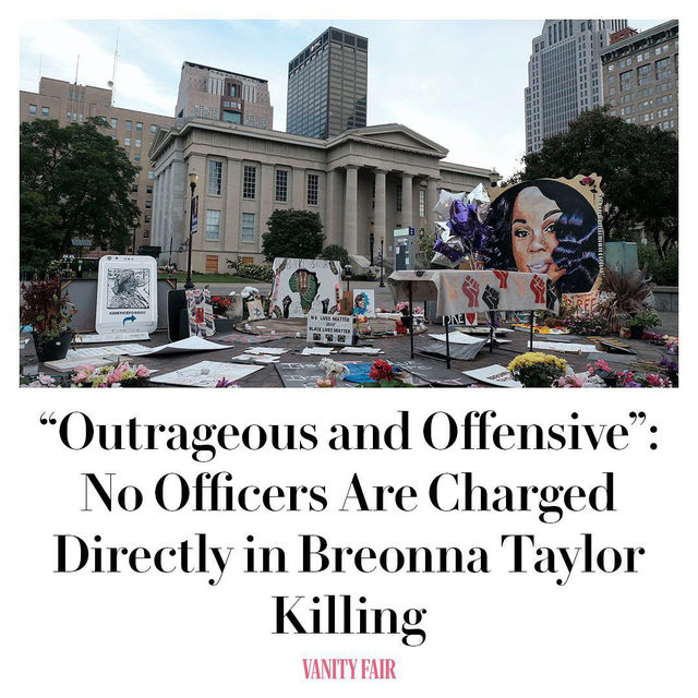"Only one of three officers responsible for Breonna Taylor's murder—Brett Hankison—has been indicted by a grand jury on three counts of wanton endangerment in the first degree, a felony charge that carries up to five years in prison on each count. The other officers are currently on administrative reassignment.   Ben Crump, one of the attorneys representing Taylor's family in calling for charges against the officers involved, tweeted that the wanton endangerment decision was ""outrageous and offensive,"" as it only applied to the bullets which went into other apartments, but ""nothing for the murder of Breonna Taylor.""  The NAACP and the ACLU issued statements condemning what they called an ""injustice"" regarding the charge, with the former asserting that Kentucky Attorney General Daniel Cameron's ""failure to bring substantial charges against the officers who murdered Breonna Taylor causes angst and pain for far too many Americans still reeling from a pandemic.""  Crowds of demonstrators began marching towards down"