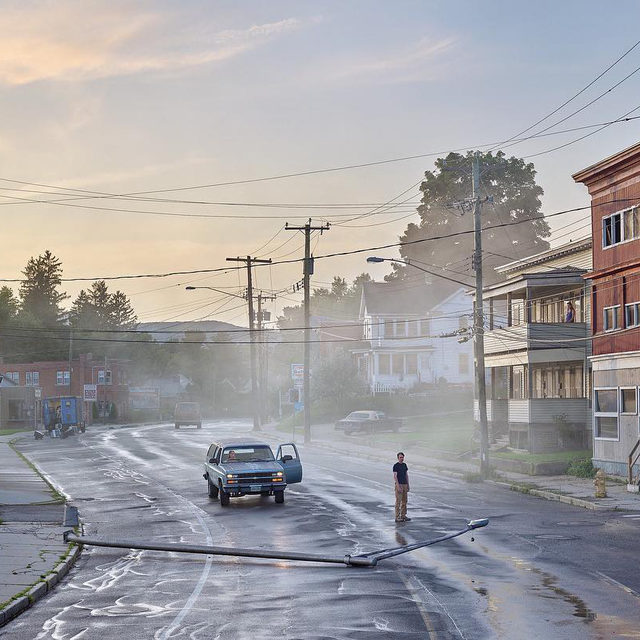 """#GregoryCrewdson: """"I'm trying to explore what, on the surface at least, seems to be everyday life, and trying to find within that some unexpected anxiety, or fear, or wonder, even."""" —Gregory Crewdson  """"An Eclipse of Moths,"""" an exhibition of new work by Gregory Crewdson, opens tomorrow at Gagosian, Beverly Hills. In a piece for """"Gagosian Quarterly,"""" actor Cate Blanchett discusses this body of work with the artist. Follow the link in our bio to read the article or to learn more about the exhibition. __________ #Gagosian #GagosianQuarterly @crewdsonstudio Gregory Crewdson, """"Starkfield Lane,"""" 2018–19, digital pigment print, image: 50 × 88 7/8 inches (127 × 225.7 cm), framed: 57 × 96 × 2 inches (144.8 × 243.8 × 5.1 cm) © Gregory Crewdson"""