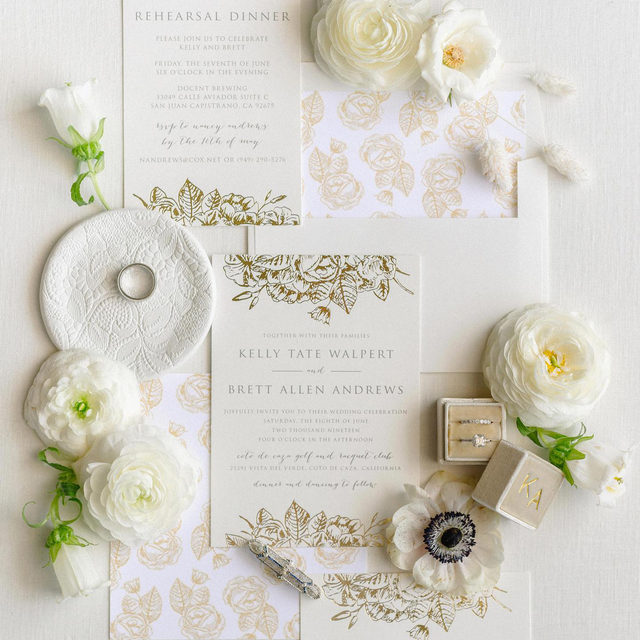 """#MintedWeddingsTip: swap out the fonts on any design to match your style. Bonus: add foil for a touch of luxe! """"Gilded Wildflowers"""" invitation suite design by @smudgedesign __ Photo: @mikearick  Planning+Design: @blissfullystyledca  Floral Design: @lilyrodenfloralstudio . . . #weddinginvites #savethedate #weddinginvitation #weddingflatlay #flatlay #invitationdesign #modernwedding #engaged #weddingideas #weddinginspiration #weddingdetails #weddingphotography #weddingplanning #trendybride #weddingstationary #luxurywedding"""