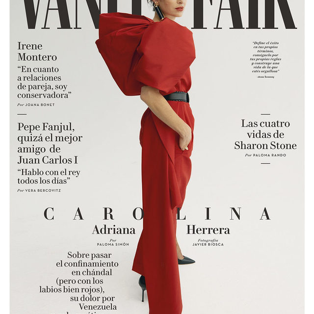 Beauty Creative Director Carolina A. Herrera rocks the cover of @vanityfairspain with this Fall 2020 asymmetric red silk dress. Herrera Lipstick with a Black Confidential cap is the perfect accessory. #HerreraBeauty   Editor: @paloma_simon Photographer: @javier_biosca Artistic Direction: @smithmaya Styling: @almudenacalafate Hair & makeup: @pabloidbeauty  Tap the link in bio to shop now.