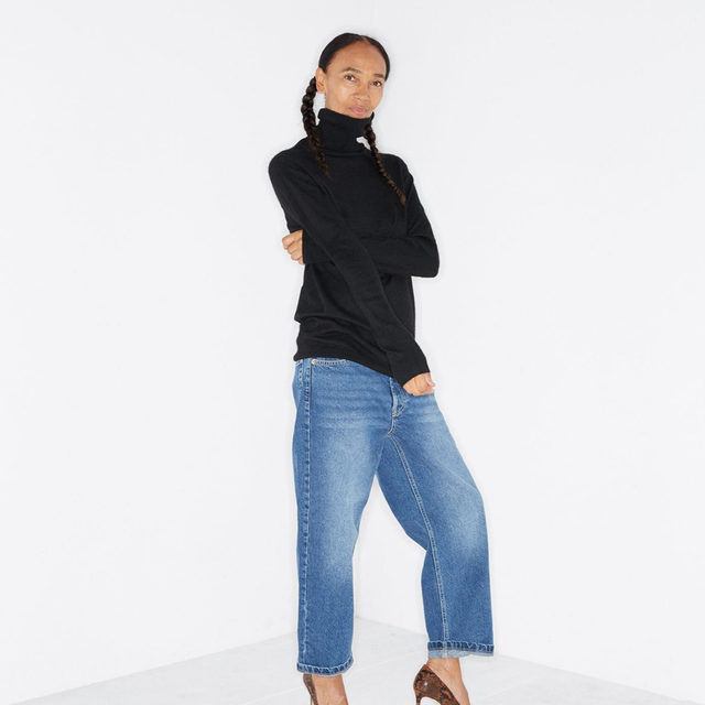 Elevated everyday. #Raey roll-neck sweater and baggy boyfriend jeans. Available exclusively at @MATCHESFASHION #MATCHESFASHION.