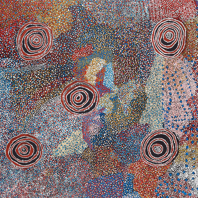 """#DesertPainters: """"Desert Painters of Australia: Two Generations,"""" the first-ever exhibition in Hong Kong dedicated to work by contemporary Indigenous Australian artists is now open at Gagosian, Hong Kong. This exhibition is designed to introduce the local audience to rare works by some of Australia's most renowned Indigenous artists from remote regions of the continent.   Bill """"Whiskey"""" Tjapaltjarri, a Pitjantjatjara artist from the Western Desert, used a unique cartographic approach to paint works of sweeping scale that are reminiscent of drawings his elders once made with crayon on butcher's paper to map the vast lands of their Country for white anthropological interlocutors. Two of Whiskey's largest paintings, both titled """"Country and Rockholes near the Olgas"""" (2006) depict the areas around Uluru (Ayers Rock) and Kata Tjuta (Mount Olga). The subtle palette of these works, which ranges from deep aqueous blues to vivid corals, and their complex contouring, reimagine the striking hues and topography of the ge"""