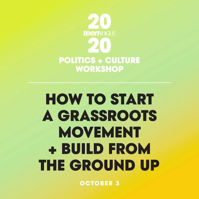 For the next #TeenVogueSummit workshop, we're bringing the next generation of change makers together for a dynamic workshop on building a grassroots movement. ✊🏽 @blklivesmatter co-founder @OsopePatrisse will be joined by revolutionary activists at our Politics + Culture workshop on October 3rd! Find out more + get your tickets at the link in bio.