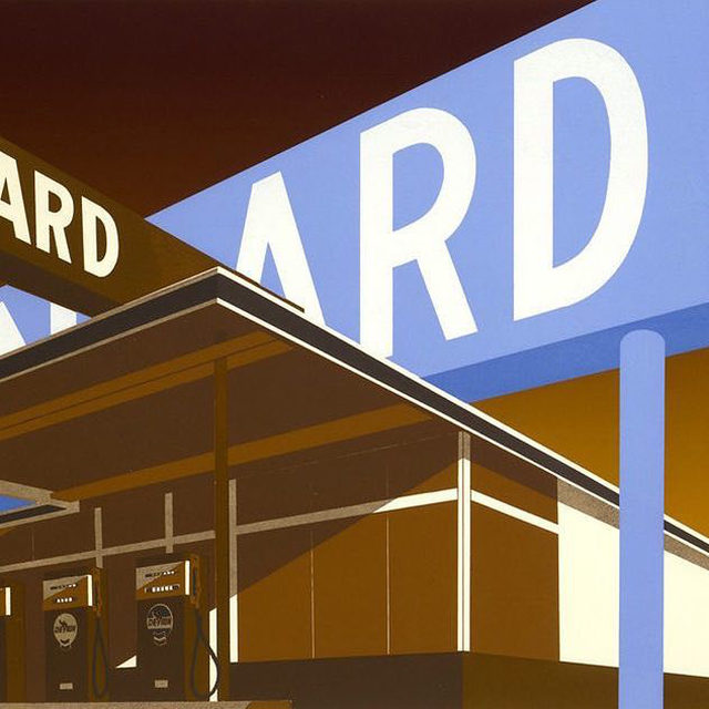 """""""Ed Ruscha: Travel Log"""" opens today at Sonoma Valley Museum of Art, Sonoma, California.  This exhibition by Ed Ruscha includes rarely seen black-and-white photographs documenting the artist's frequent trips from Los Angeles to Oklahoma in the 1960s, which reveal inspirations for his iconic prints and paintings, including images of gas stations, diners, and the streets of rural towns like Gallup, New Mexico, and Winslow, Arizona. Also featured are examples of his well-known word prints, including color lithographs that combine visual formality with playful language. Follow the link in our bio for more. __________ #EdRuscha #Gagosian @edruschaofficial @sonomavalleymuseumofart Ed Ruscha, """"Double Standard,"""" 1966–69 © Ed Ruscha"""