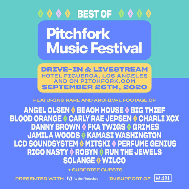 Today's the day! Tune in today at 7 p.m. ET to relive the best of P4K Fest with moments from @lcdsoundsystem, @beaccchhoussse, @charli_xcx, and many, many more. And, if you're able, donate to @mvmnt4blklives. All the info is at the link in our bio.  🎨 by @drewknowitz  #PitchforkMusicFestival #LiveMusic #Livestream