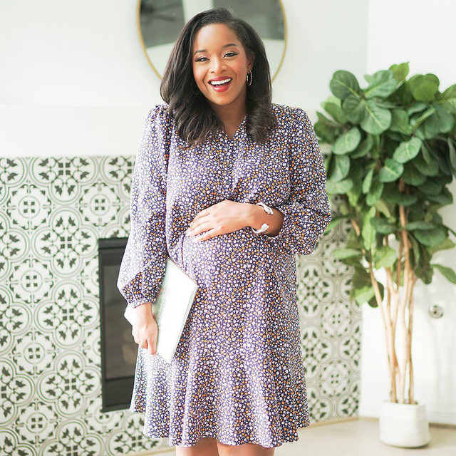 """""""I look for comfortableand loose pieces that will accentuate the bump,"""" says @carmenreneeblog of her approach to maternity dressing. She is expecting a baby boy later this year. """"This dress is perfect for expectant moms, I love that it is loose enough for the bump to continue growing and it is such a classic and feminine dress."""""""