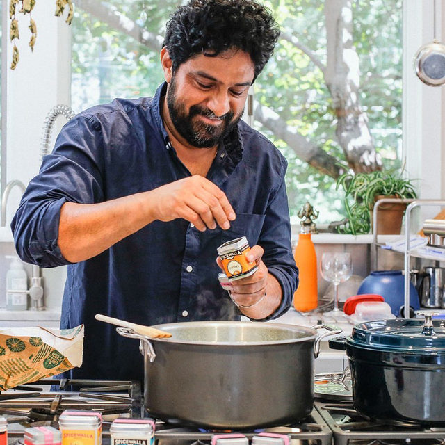 "@meherwanirani, chef and owner of @chaipani, isn't cooking for the fanfare anymore. Over the past six months he decided to start a live cooking show on Instagram and realized something. People weren't looking for the craziest plating technique. No, they wanted to see passion and excitement from Meherwan as he created dishes that brought him comfort at home. ""As I continued to cook and post online, making crispy onion pakoras and spicy Goan fish curry, I found myself doing it not for likes but to bring comfort to others. The pressure to impress, which felt so crucial as a chef, now seemed meaningless as a dad, a husband, and a home cook,"" writes Meherwan. Click the link in our bio to read more about how Meherwan's approach to restaurant cooking has changed during the pandemic. 📷: Molly Milroy"