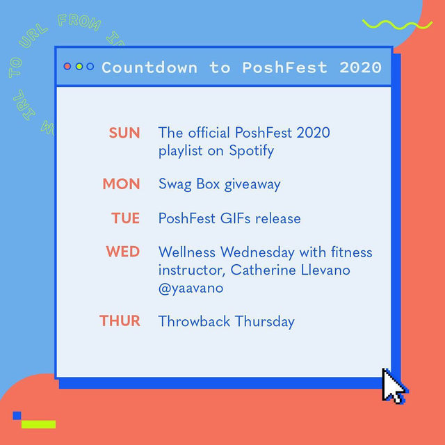 The countdown to #PoshFest2020 is ON! 🎉 We're kicking off the week in true Poshmark style so look forward to something new & fun every day leading up to the big event!  🎶 Sunday: Get the party started this week with our Official PoshFest 2020 Playlist on Spotify! Tap our link in bio to give it a spin. ✨ Monday: You heard it here FIRST–stay tuned to our social media channels for exclusive giveaways! 😎 Tuesday: Dress your up IG stories with our PoshFest branded GIFs.  💪 Wednesday: Get moving with a live workout class at 4pm PT with Bay Area fitness instructor, @yaavano  💖 Thursday: Cue the nostalgia–we're throwing it back to past PoshFest memories. Share a #TBT photo of a PoshFest you've attended and tag us, we'll be resharing!  Who's ready?!