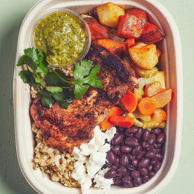 Of all the winner-winner-type chicken dinners out there, our Chicken Chimichurri Plate is the herbiest. It stars chicken's ideal plus-one (chimichurri sauce made with all the cilantro), plus creamy crumbly feta, tangy-bright pickled veg, and protein-packed cauli rice.