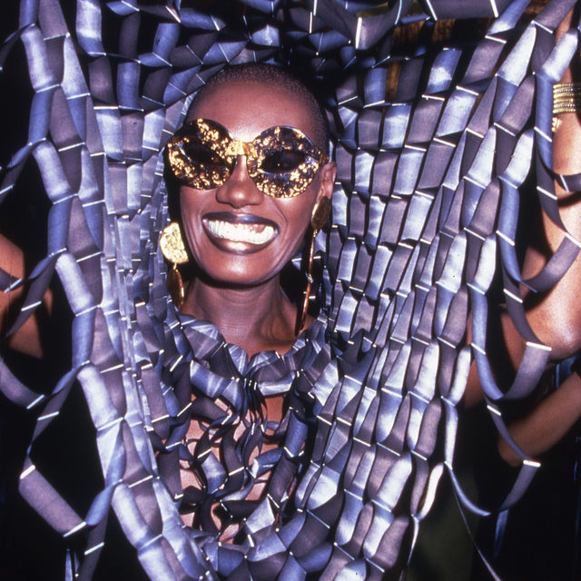 """By gleefully toying with masculine and feminine conventions, Grace Jones offered her queer audience a constantly evolving performance in which they could recognize their own sexual fluidity. """"Bumper"""" succinctly captures her protean mix of playfulness and aggression, simultaneously tongue-in-cheek and dead serious. At the link in our bio, read more about the song, and 49 other that define the last 50 years of LGBTQ+ pride.  📷 by Rose Hartman/Getty Images  #GraceJones #Bumper"""