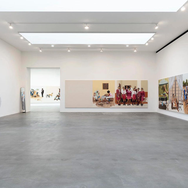 """#MelekoMokgosi: """"Partly on account of their wide-screen horizontal spread, their dissolves and jump-cuts, their frame-by-frame progression from canvas to canvas, the bleeds between scenes, the heartbeat-long patches of emptiness and sudden frames filled with text, Mokgosi's paintings borrow much from the language of cinema. But to me they also come close to big, discursive novels. Filled with life and observation, the main themes, characters and plotlines are frequently interrupted by digressions and self-interruptions."""" —Adrian Searle, """"The Guardian""""  Meleko Mokgosi's first solo exhibition in the United Kingdom and Europe, """"Democratic Intuition,"""" received a dazzling review in """"The Guardian"""" from Adrian Searle. The show is now on view at Gagosian, Britannia Street, London, through December 12. Follow the link in our bio to read the article or to learn more about the exhibition. _________ #Gagosian @guardian  Installation views, """"Meleko Mokgosi: Democratic Intuition,"""" Gagosian, Britannia Street, London, Septem"""