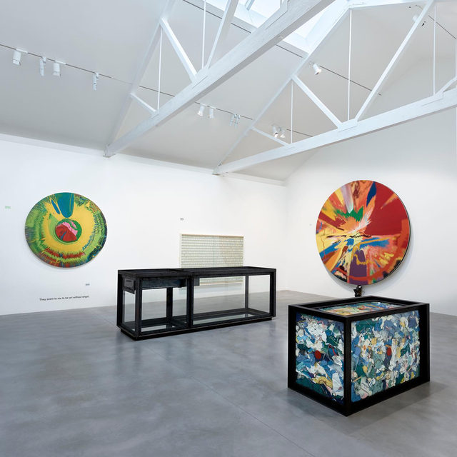 "Damien Hirst's ""End of a Century"" opened yesterday at Newport Street Gallery, London. This exhibition features over fifty early works by Hirst, spanning his formative years as a student in the 1980s through the 1990s, when he became one of Britain's leading contemporary artists. Featuring installations, sculpture, and paintings, some of which have not been seen before, the exhibition surveys a selection of the artist's most iconic series. Follow the link in our bio to learn more. __________ #DamienHirst #Gagosian @damienhirst @newportstreetgallery_london Installation views, ""End of a Century,"" Newport Street Gallery, London, October 7, 2020–March 7, 2021. Artwork © Damien Hirst and Science Ltd. All rights reserved, DACS 2020. Photos: Prudence Cuming Associates"