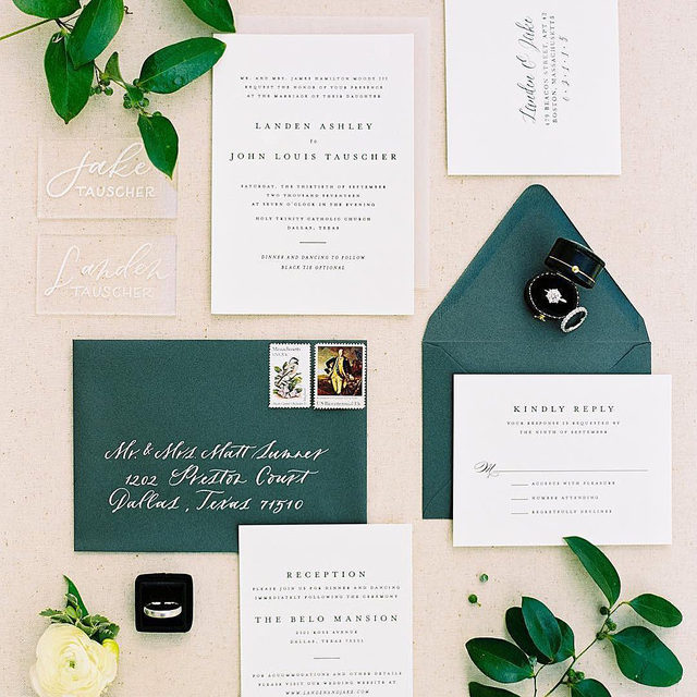 """You know holiday is coming when you start to see pops of emerald green!  Head to our #linkinbio to shop the suite!  _ """"A Thousand Years"""" wedding invitation by Amy and Tina from @designlotus Photo: @beccaleaphoto via @lindseybrunk  . . . #weddinginvites #savethedate #weddinginvitation #weddingflatlay #flatlay #invitationdesign #modernwedding #engaged #weddingideas #weddinginspiration #weddingdetails #weddingphotography #weddingplanning #trendybride #weddingstationary #luxurywedding"""