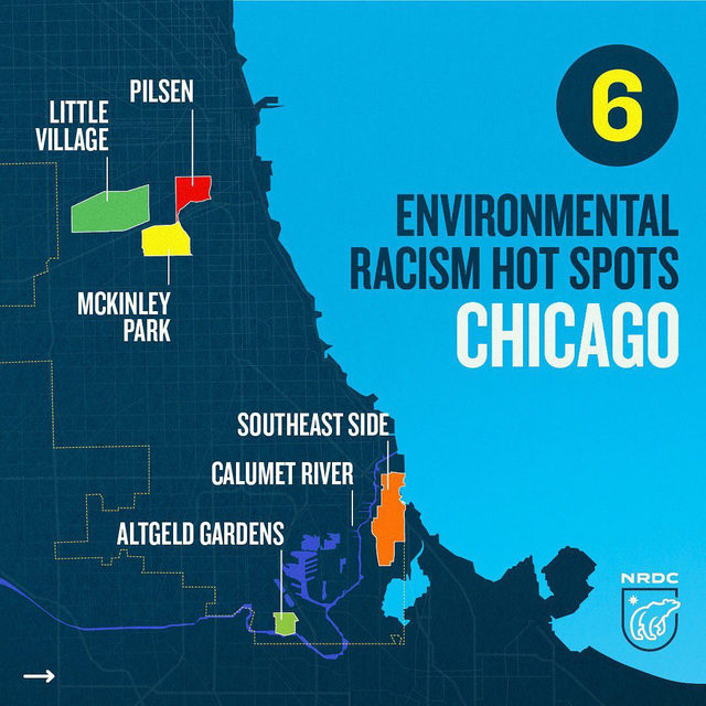 "Pass it on: 🗣""Environmental racism is alive and well in Chicago, and it must end.""  The industrial legacy that once sustained much of the city's workforce has created an environmental and public health crisis for working-class communities of color.   Environmental justice communities deserve clean air, green spaces, and sustainable development — not more environmental racism.   Save this map & comment below!   #environmentaljustice #enviroment #racialjustice #chicago #environmentalracism #map #stopgeneraliron #pilsen #littlevillage #calumetriver #altgedgardens #southeastside #mckinleypark"