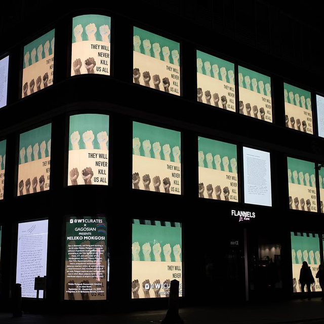 "#MelekoMokgosi: There are just a few days left to see Meleko Mokgosi's new digital work on the Flannels flagship store at 161–167 Oxford Street in Soho, London. The project comprises an algorithmic sequence of image fragments and text panels from the artist's narrative paintings, digitally adapted to the full scale on a ten-minute loop across the building's facade.   Presented by W1 Curates, the outdoor installation coincides with Mokgosi's solo exhibition, ""Democratic Intuition,"" at Gagosian, Britannia Street, London. Follow the link in our bio to find out more, or to read Adrian Searle's dazzling review in ""The Guardian."" __________ #Gagosian #W1Curates #FlannelsLondon @w1curates @flannelsman @theguardian  Meleko Mokgosi's work installed at Flannels, London. Artwork © Meleko Mokgosi. Photos: W1 Curates"