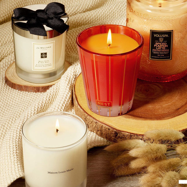 Honestly, this is the place to be this fall 😍🍁🍂 Warm scents, ambient lighting, coziness…What else could you want? Leave a 🕯 if this is your fall vibe. . . .  Jo Malone London Wood Sage & Sea Salt Candle  NEST New York Pumpkin Chai Candle  VOLUSPA Mini Spiced Pumpkin Latte Glass Candle  Maison Louis Marie No.04 Bois de Balincourt Candle