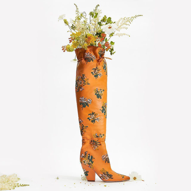 Our Lila over-the-knee boot with hand-embroidered flowers #ToryBurchFW20 #ToryBurchShoes #ToryBurch