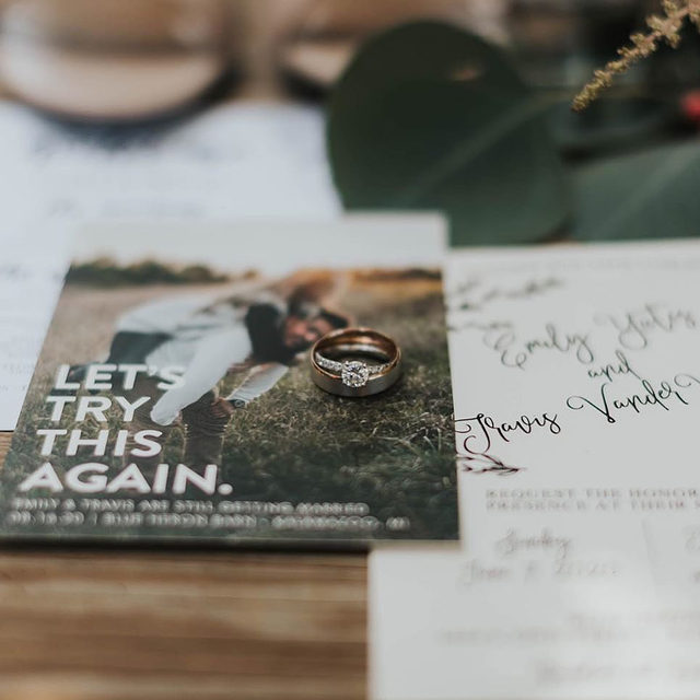 """You may have changed your original wedding date but the new date will be just as special. Remember, love is patient and the little moments are the ones you remember the most. Cheers to the 'new' date!  __ """"Let's I Do This Photo"""" Save the Date by #MintedArtist Ellis from @helloellisdesign  Photo: @torihookphoto . . . #weddinginvites #savethedate #weddinginvitation #weddingflatlay #flatlay #invitationdesign #modernwedding #engaged #weddingideas #weddinginspiration #weddingdetails #weddingphotography #weddingplanning #trendybride #weddingstationary #luxurywedding"""