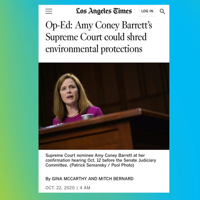 """Judge Barrett's appointment to a seat on the court could have a profound influence on how we safeguard our communities against environmental disasters and the widening hazard of global #ClimateChange."" —  @GinaNRDC and Mitch Bernard on #SCOTUS.   Read the full op-ed ➡️ link in bio!"