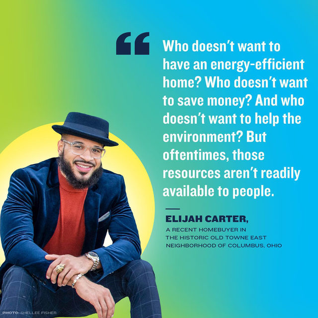 "Elijah Carter, a 31-year-old retail professional who recently bought and made energy-efficient upgrades to his first home (SWIPE!), discusses the importance of energy efficiency education in cities like his native Columbus, Ohio!  ⁣ ⁣ ""A lot of the homes that are still maintained by BIPOC families are very inefficient. They are either overpaying because their home is not energy efficient, or they're using more energy than they should & adversely impacting the community & the environment at large."" ⁣ ⁣ #USClimateCities ⁣ 📸 @shelleefisherphotography"