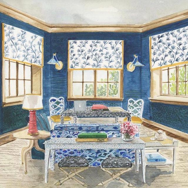 Home office goals —just add Wi-Fi 🖥💙  🎨 by @lydiamarieelizabeth 🏠 interior design by @massuccowarner