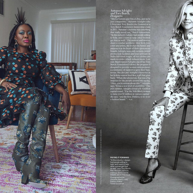 Thank you @voguemagazine - the Fashion Comes Together story highlights one of our  #ToryBurchFellows @autumn_adeigbo. I met Autumn at one of our mentorship events in 2011, she was ambitious, charismatic and smart. I am so proud of Autumn for recently securing a $1.4 million capital round that will help her expand her business and hire a team. @ToryBurchFoundation #EmbraceAmbition