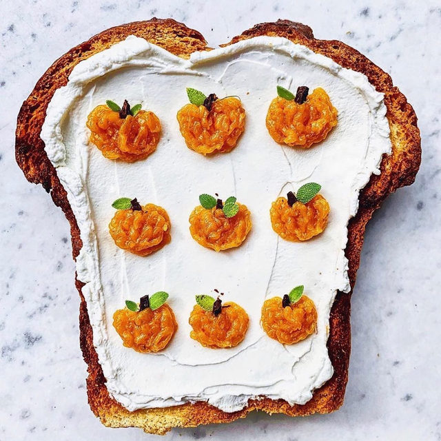 We know there's no hard and fast rule about it, but the last day of October means it will soon be time to dial back on our pumpkin-everything obsession. Getting in last licks today with pumpkin-butter-topped labneh cream cheese on toasted pumpkin bread...🍁🎃✨  RG @carolinagelen via @food52