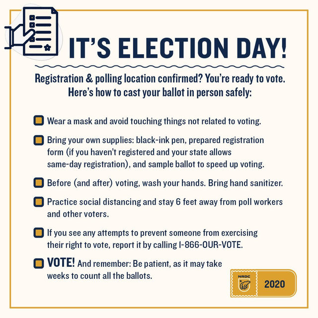 #VoteSafely, pass it on! 🌎 📣   For more tips, follow the link in bio. ⤴️  #Vote #Vote2020 #VoteSafe #2020Elections #ActOnClimate #ClimateActionNow #ElectionDay #Elections #SafeVoting