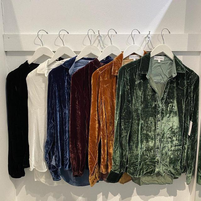 Such a gem 💎  Our favorite Velvet Halle Shirt is back in new jewel tones. Link in bio. #heydahl