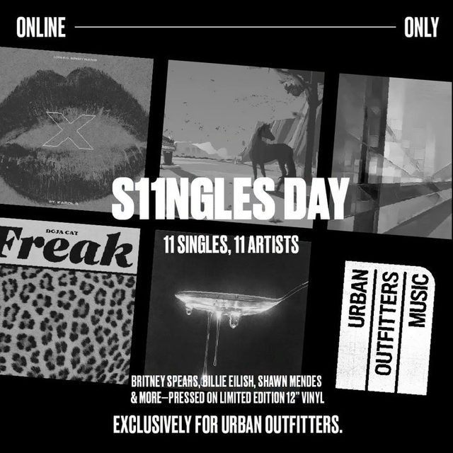 It's S11NGLES day: head to the link in bio to shop 11 limited edition vinyl singles from 11 artists, exclusively for Urban Outfitters! Featuring songs from @britneyspears, @billieeilish, @theestallion, @fifthharmony, @sushitrash, @shawnmendes, @wallowsmusic, @katyperry, @jonasbrothers, @ddlovato, and @dojacat. #UOMUS11C