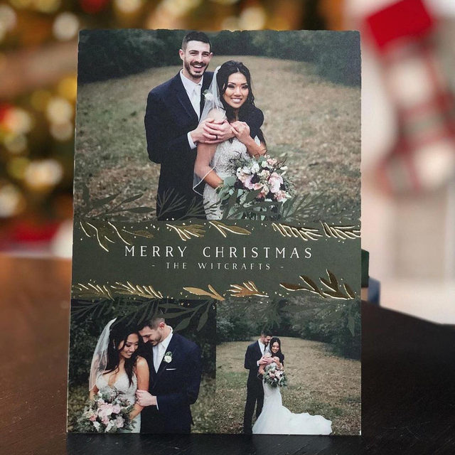 """You've got big things to celebrate, like a new last name. Get it out for the world to see! #MintedWeddingsTip: use the back of your card to provide an update on your year, or share part of your vows if some couldn't make your big day.   Shop the #linkinbio for holiday photo cards!  __ """"Winter Boughs"""" Holiday Card by #MintedArtist Laura Hankins by @laurahankinsdesign Photo: @clare.christopherson.witcraft . . . . . #holidaycards #holidays #weddinginspiration #weddingdetails #weddingphotography #weddingplanning #weddingflatlay #justengaged #thatsdarling #theknot #sayido #howtheyasked #marthaweddings #foilinvitations #foil #foilpressed #fallwedding #winterwedding #destinationwedding #design"""