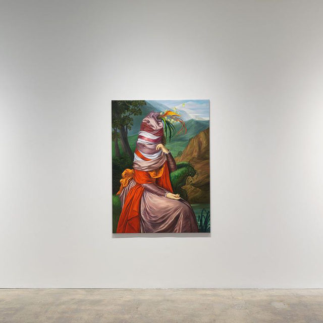 """#EwaJuszkiewicz: """"In vain her feet in sparkling laces glow,"""" an exhibition of new paintings by Ewa Juszkiewicz, is now open. The installation is viewable exclusively through the storefront windows of Gagosian Park & 75, New York, twenty-four hours a day.  Through meticulous technique and an acute sensitivity to color, Juszkiewicz engineers strangeness without compromising the aesthetic harmony of the images from which she works. Classical in method but subversive in intent, her paintings eerily deconstruct ideals of feminine beauty and other societal clichés. In remaking depictions of the wives, mothers, or daughters of privilege, but stripping away what remains of their subjective individualities, Juszkiewicz's faceless portraits narrate a history of feminine erasure that courses through the Western art historical canon. Follow the link in our bio for more. __________ #Gagosian @ewa_juszkiewicz Installation views, """"Ewa Juszkiewicz: In vain her feet in sparkling laces glow,"""" Gagosian, Park & 75, New York. Nov"""