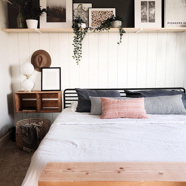 Free up floor space in your bedroom with floating nightstands. (📷 submitted by @calling_allcreators)