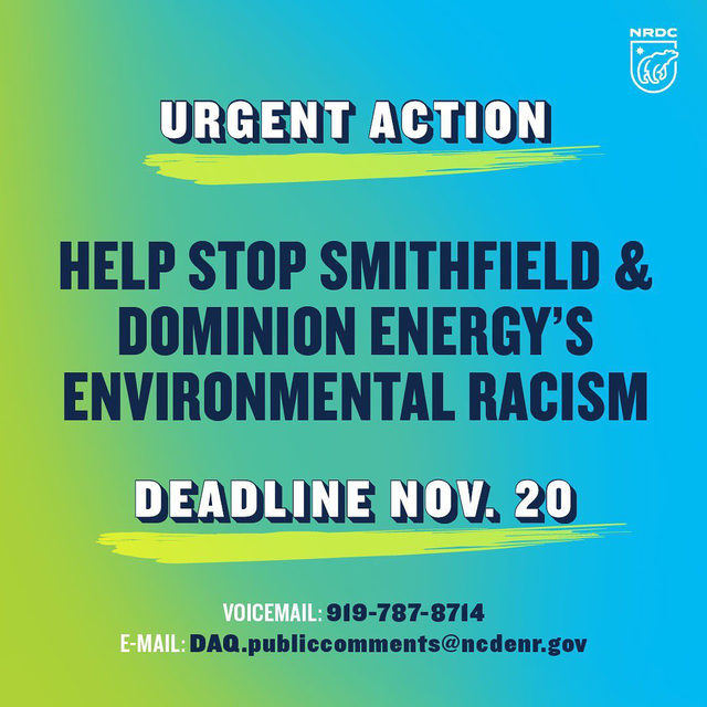 🚨 Urgent action needed! 🚨 Support North Carolina residents who are being targeted by Smithfield Foods and Dominion Energy's latest environmentally racist project. ➡️ Swipe to read more and visit the link in our bio for the full article.   Here are suggested talking points to leave a 📞 voicemail or 📧 e-mail: ◾️ The Grady Road Project relies on and furthers an outdated and unsafe system of storing untreated hog feces and urine in waste pits and spraying the untreated waste onto nearby land. ◾️ The Grady Road Project will harm streams and rivers in eastern North Carolina, pollute the air and impact the health of families in Duplin and Sampson counties and beyond.  ◾️ North Carolinians who live near large swine operations have higher death and disease rates from a variety of causes than people who live farther away. People of color bear a disproportionate burden of foul odors and higher death and disease rates. ◾️ People need to be protected, not polluters like Smithfield and Dominion. I do not support the Grady