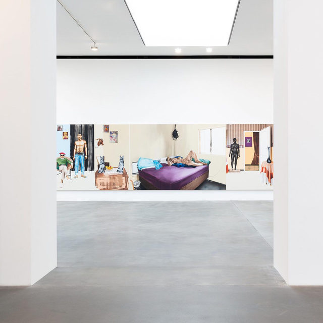 """#MelekoMokgosi: """"In order to negotiate these representational spaces, I use allegory to rewrite or reimagine preexisting texts with the hopes of compelling the viewer to acknowledge and reconcile their biases and methods of interpretation."""" —Meleko Mokgosi  Meleko Mokgosi's first solo exhibition in the United Kingdom and Europe, """"Democratic Intuition,"""" recently opened at Gagosian, Britannia Street, London. Head to """"Gagosian Quarterly"""" to read an essay by Mokgosi on his eight-chapter painting cycle, an epic of southern African life and folklore. Louise Neri contributes an introduction to the artist's work. The text was originally published as the preface to the comprehensive catalogue """"Meleko Mokgosi: Democratic Intuition,"""" published by Pacific with Jack Shainman Gallery. Follow the link in our bio to read the piece or to explore Mokgosi's exhibition online. __________ #Gagosian #GagosianQuarterly @jackshainman @pacific_pacific (1, 6) Installation views, """"Meleko Mokgosi: Democratic Intuition,"""" Gagosian, Britan"""